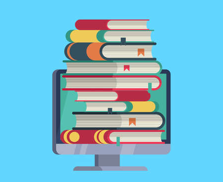 Online library. Flat computer with stack books on device screen. Electronic knowledge, reading and downloading book online, e-learning for students, vector isolated education concept Çizim