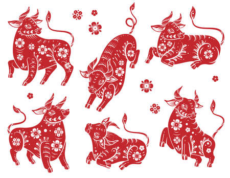 Chinese new year 2021 ox. Red and white paper cut silhouette buffalo with floral asian pattern. Bull traditional orient zodiac fortune symbol with blossom in different poses vector isolated set Çizim