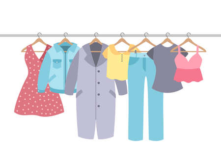 Clothes on hangers. Garment with hanger and rack in wardrobe. Cotton shirt, modern dress and coat, jacket, pants. Apparel female fashion vector isolated concept in pastel colors