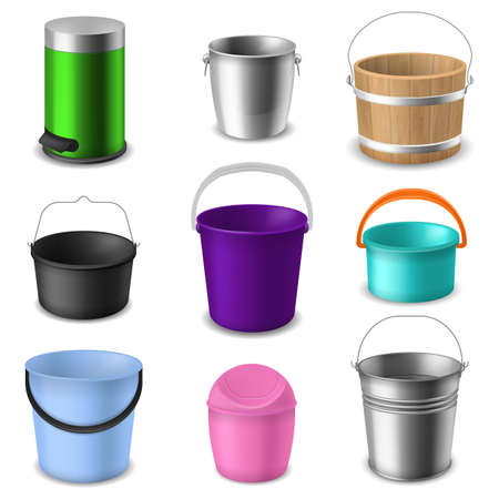 Buckets collection. Color empty round plastic, wooden or metal bucketful with handle different types for liquids or garbage, garden or household containers realistic vector isolated set Çizim