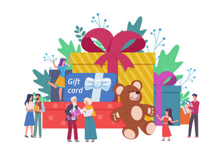 People with gift boxes. Giant box with presents and small people happy men and women, holiday event congratulate and surprise characters, discount coupon and gift certificate vector concept