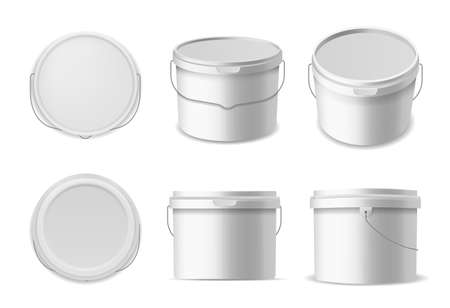 Plastic buckets. Construction liquids containers template, white bucket for different products container mockup closed round box in different angles, 3d realistic vector isolated mockups set Çizim