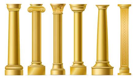 Golden columns. Classic antique gold pillars, roman historical stone column, ancient greece historic architecture sculpture facade, marble colonnade vector 3D isolated elements set