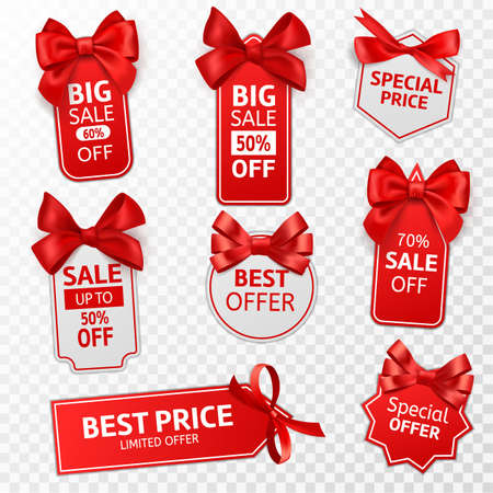 Shopping labels. Red price tags special offer, sale retail, promotion messaging christmas pricing, discount label with satin bow vector isolated templates set