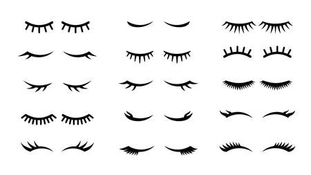 Closed girl eyes and eyelashes. Various closed eye with beautiful black eyelash silhouette, mascara beauty face makeup line vector cartoon isolated set Çizim