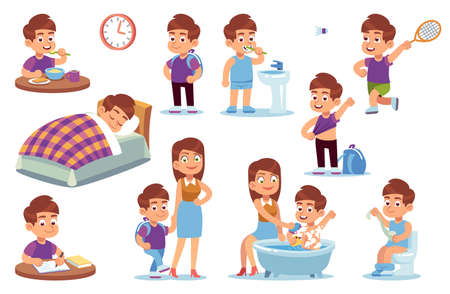 Boy routine. Kid daily activities, little child sleeps bed, wake up in bedroom and takes bath with mother, does homework and eats breakfast in school, plays tennis vector isolated cartoon set