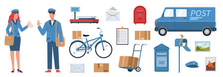 Postman characters. Woman and man in mailman uniform, postal equipment. Van and bike, parcels and post boxes, postage stamp envelopes delivery service vector flat vector isolated set