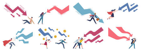 Finance decrease and crisis graph. Falling down business chart panic people try stopping falling arrow, business bankruptcy company startup collapse, risk management concept vector flat characters set