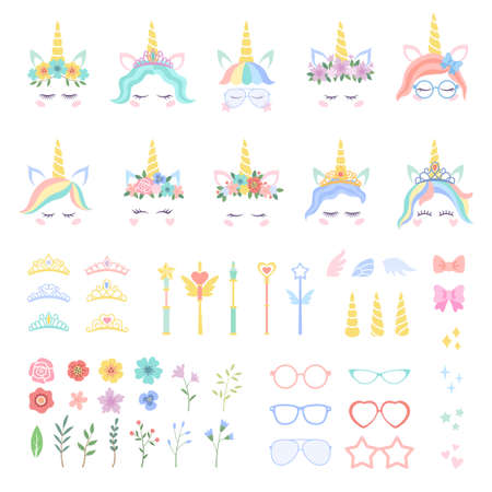 Pony unicorn face elements. Unicorns constructor details, pretty hairstyles, magic horn and cute crown, flowers and leaves, bows, eyelashes vector isolated set in rainbow pastel colors