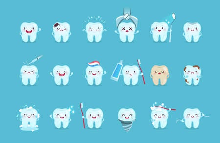 Cartoon teeth. Cute tooth characters with different emotions and hygiene tools, teeth cleaning with toothpaste and toothbrush, kids oral care children dentistry clinic for poster vector isolated set