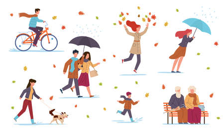 People in fall season. Guys in autumn park, riding bicycle, walking with dog, men and women with umbrella among falling leaves, pensioners sitting on bench in park vector flat isolated set Çizim