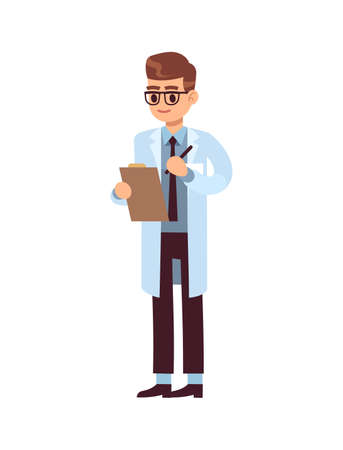 Man doctor holding clipboard. Professional medic staff. Male physician in white uniform and glasses, pediatrician or nurse standing and smiling, flat vector cartoon isolated character