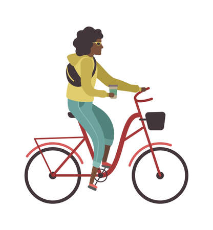 Woman riding bicycle. Simple young character cyclist girl rides on bike with glass of coffee. Outdoor activities in park, healthy leisure lifestyle, flat vector cartoon isolated illustration