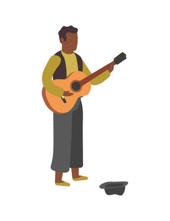 Man plays guitar on street. Busker performance, boy stands with hat and play melody, earn money with hobby, entertainment concept flat vector cartoon isolated illustration
