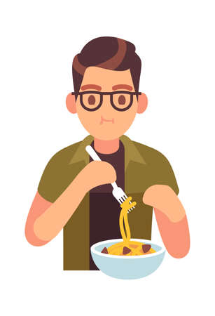 Man eating meal. Hungry male character with tasty noodles with meat, lunch or dinner time with healthy pasta promotion cafe and restaurant, cartoon flat vector isolated trendy illustration Çizim