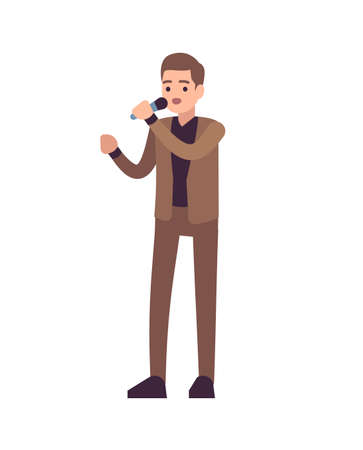 Man singer. Vocalists musical performance, boy stands in brown suit with microphone and sings song, karaoke or pop concert, entertainment concept flat vector cartoon isolated illustration