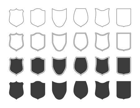 Shields badge icon set. Çizim