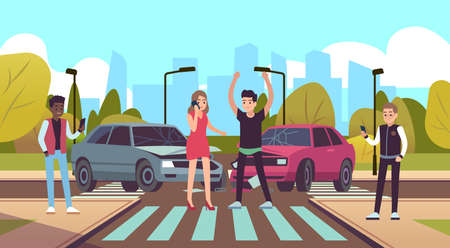 Car accident. Damaged vehicle on crossway, auto crash on crossroad cars collision on road, male character angry female calling on phone, drivers standing near automobiles flat cartoon illustration