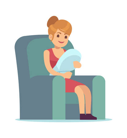 Happy mom with newborn baby. Young female character holding little son and sitting and smiling on armchair in home, motherhood and family concept vector cartoon flat isolated illustration