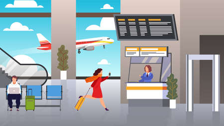 Check in airport. Woman runs with suitcase is late for airplane air flight checking ticket and documents, passenger registers waiting plane departure traveller with luggage flat cartoon vector concept