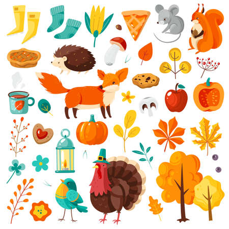 Autumn set. Yellow and orange falling leaves, forest animals, pumpkins, apples and turkey, harvest festival and thanksgiving day festive attributes for card, posters flat vector cartoon isolated set Çizim