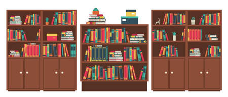 Library book shelves room. Book stacks in wooden furniture. Various books in bookshelf stand and lie, colorful covers, wood cabinet for studying and learning, classic interior vector illustration