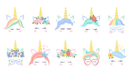 Unicorn face. Various cute pony unicorns funny heads. Magic horn in rainbow flower wreath in colorful hair and great eyelashes with glasses cartoon vector flat characters