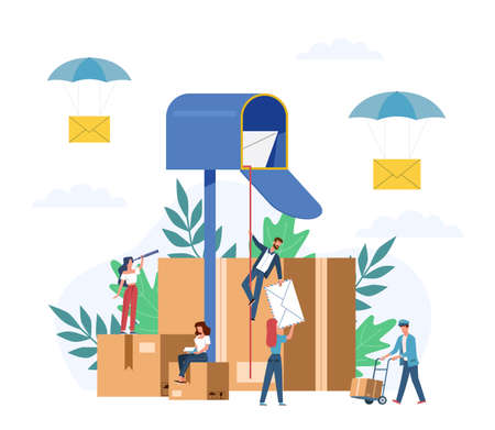 Receiving letter. Small people postmans and giant mailbox with letters, sorting parcels boxes, newsletter social news, mail service postage stamp envelopes delivery vector flat cartoon concept