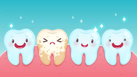 Bad tooth. Cute cartoon healthy white happy teeth and yellow spoiled sad tooth with smiling faces. Toothache problems, kids oral care and hygiene children dentistry clinic, vector dental concept