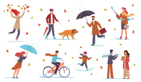 People in autumn. Men, women and kids walk in fall season with umbrellas in rain and wind among yellow orange leaves and puddles, riding bicycle, walking with dog, vector flat isolated set Çizim