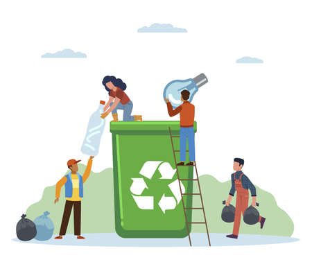 Garbage sorting. Small activist people throw litter in containers, women and man separate trash in green can, pollution protect and ecology recycle concept flat vector cartoon isolated illustration