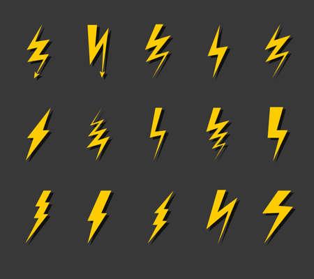 Lightning bolt icon set.