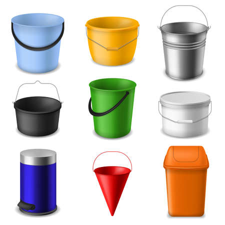 Realistic bucket. Metal and plastic empty round, cone and square buckets template with handle for water, liquids and garbage or garden, color 3d containers vector isolated set