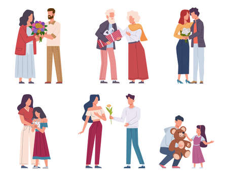 Man giving flowers. Young and elderly giving beautiful bouquets, romantic admirers present floral gift valentine day or birthday, holiday event congratulate and surprise characters flat vector set