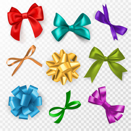 Multi-color gift bows. Red, blue and gold, pink silk ribbon bow for christmas, birthday present and wedding card decoration, packaging elegant gift tape vector set on transparent background