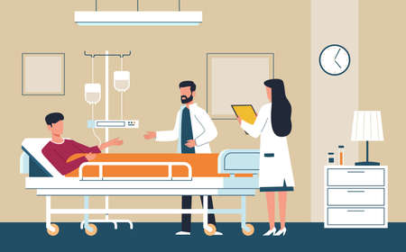 Hospital room. Doctor in uniform and nurse provide medical care to sick patient in intensive therapy ward lying on bed, consultation and diagnosis modern aid interior healthcare flat vector concept Çizim