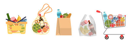 Shopping bags with foods. Grocery purchases, paper packages, plastic or eco bag, full trolley and basket with products. Buying organic food modern flat vector cartoon set Çizim
