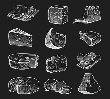 Hand drawn cheese. Chalkboard sketch various types of cheeses maasdam and gouda, mozzarella and parmesan, fresh farm eco milk products, tasty slices and pieces food engraving style vector isolated set