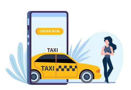 Online taxi. Woman calls automobile through application in smartphone, phone screen and girl ordering yellow car, flat vector cartoon isolated on white concept