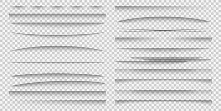 Shadow overlay effect. Realistic different forms paper divider mockup set poster or advertising banner shadows, separation of sheets frame template vector collection isolated on transparent background Ilustración de vector