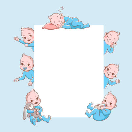 Newborn children banner. Cute cartoon baby frame, infant blond smiling toddler in blue clothes in different poses sleeping playing. Happy newborn child vector illustration isolated on white background