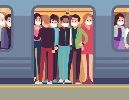 People in masks and subway. Man and woman in metro during epidemic, passenger in medical mask in underground train, stop spread of viruses healthcare vector flat cartoon concept Çizim