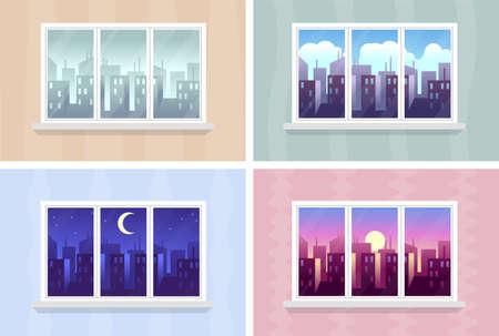 City buildings through house windows apartment Çizim