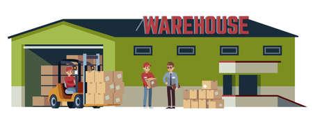 Warehouse flat building. Logistic transportation pitman forklift loader moving goods, operations acceptance beige cardboard closed box stuck on wooden pallets industry shipment flat vector cartoon set