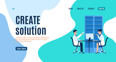 Create solution landing page, man and woman in uniform working on computers teamwork presentation new idea, analysis strategy and startup planning system, mobile app or web banner vector flat template Ilustração