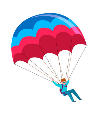 Skydiver. Man jump with parachute. Active lifestyle hobby, extreme professional parachuting sport, speed falling in sky male parachutist cartoon colorful flat character isolated on white background Ilustração
