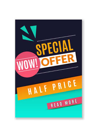Special offer discount poster. Promotional fashion premium product flyer, abstract concept graphic half price website banner, marketing brochure or coupon vector geometric shapes template Ilustração
