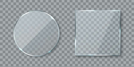 Round and square acrylic banners. Mirror glass lens with glossy glare reflections set, realistic clear wall window with shadows isolated on transparent background, 3d vector mockups collection Vecteurs
