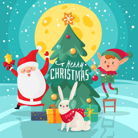 Christmas characters background. Happy Merry Christmas and New Year greeting card with friends. Santa Claus with xmas tree and helpers, rabbit and elf with gifts cartoon vector december holiday poster