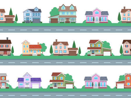 Houses on road. Home facades, cottage or suburban townhouse, front view family house with garage and terrace, architecture real estate modern design, cartoon seamless flat vector pattern and borders Vektorgrafik